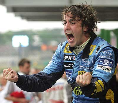 Fernando Alonso tras ganar su primer mundial de F1